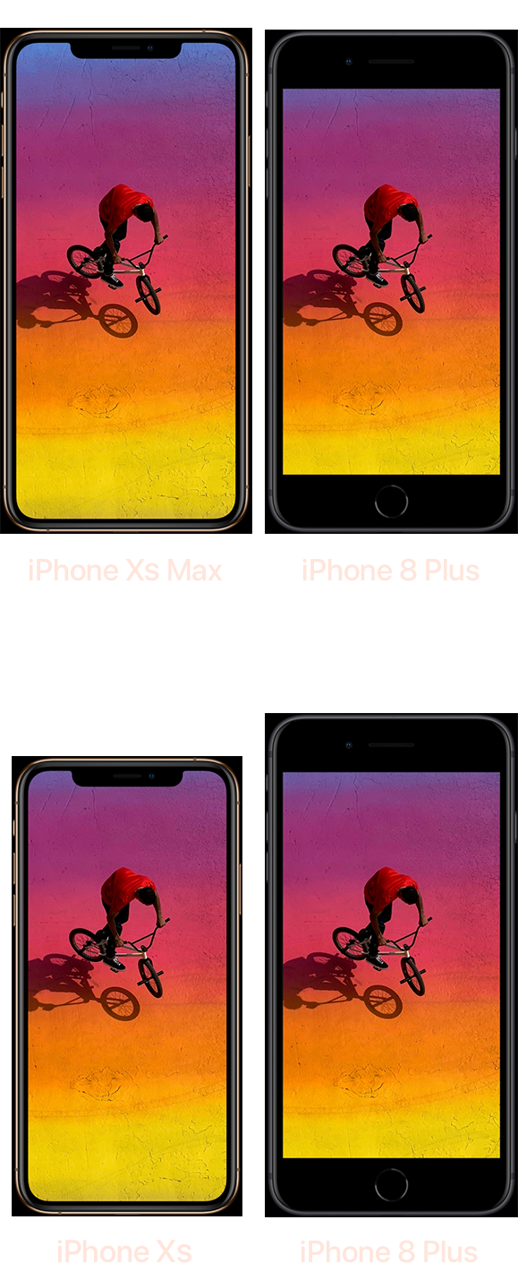 The iPhone XS Max, the iPhone 8 Plus, and the iPhone XS.