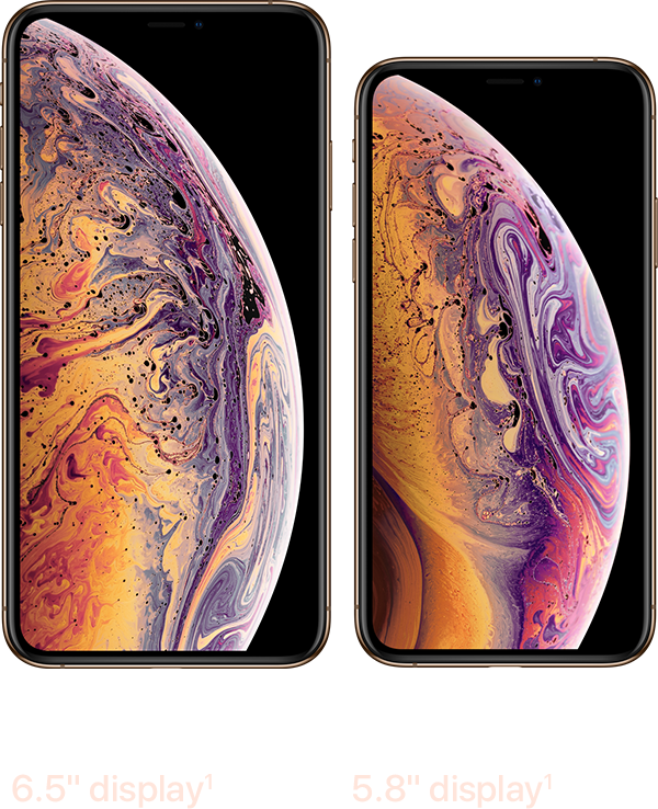 The iPhone XS Max screen is 6.5 inches. The iPhone XS screen is 5.8 inches.